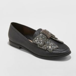 Women's Jean Faux Leather Beaded Bow Loafers